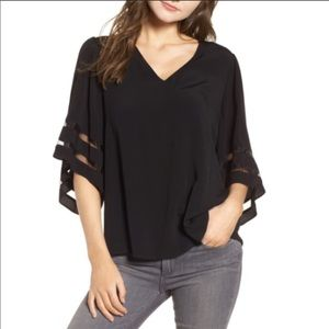 Chelsea28 Illusion Sleeve Top Size Large NWT